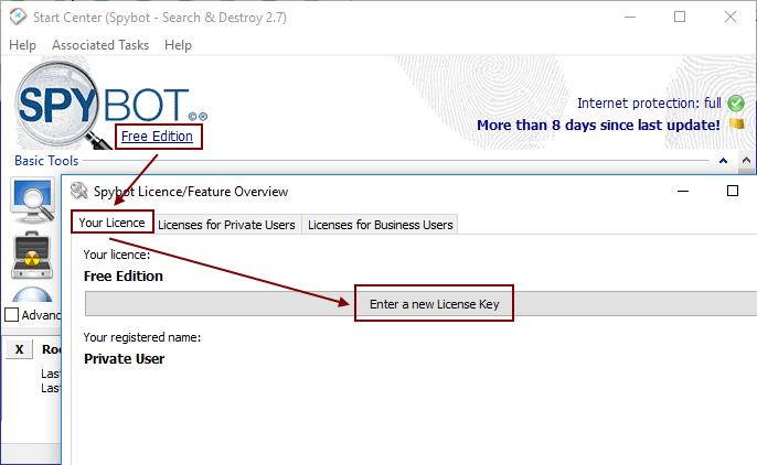 Spybot 2.7 Entering new license key