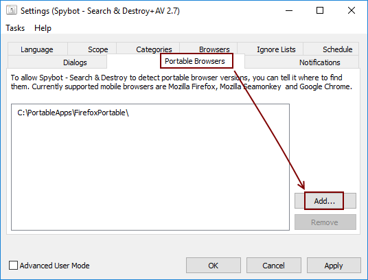 Spybot 2.7 Settings Portable Browsers