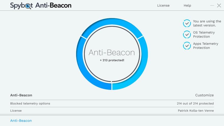 Spybot Anti-Beacon full screenshot